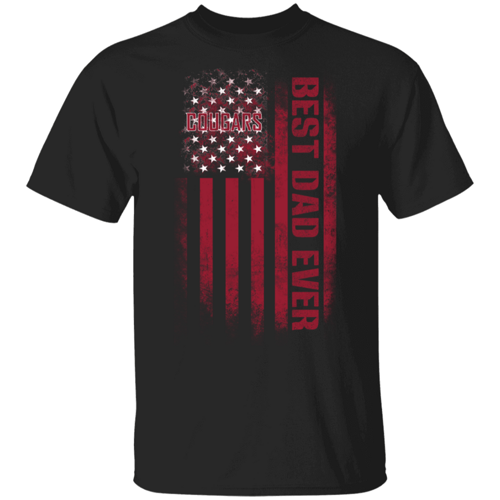 NCAA - Washington State Cougars Best Dad Ever USA Distressed Flag T-Shirt