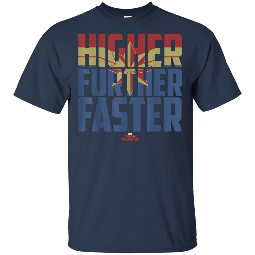 Captain Marvel Movie Higher Further Faster Graphic T-Shirt