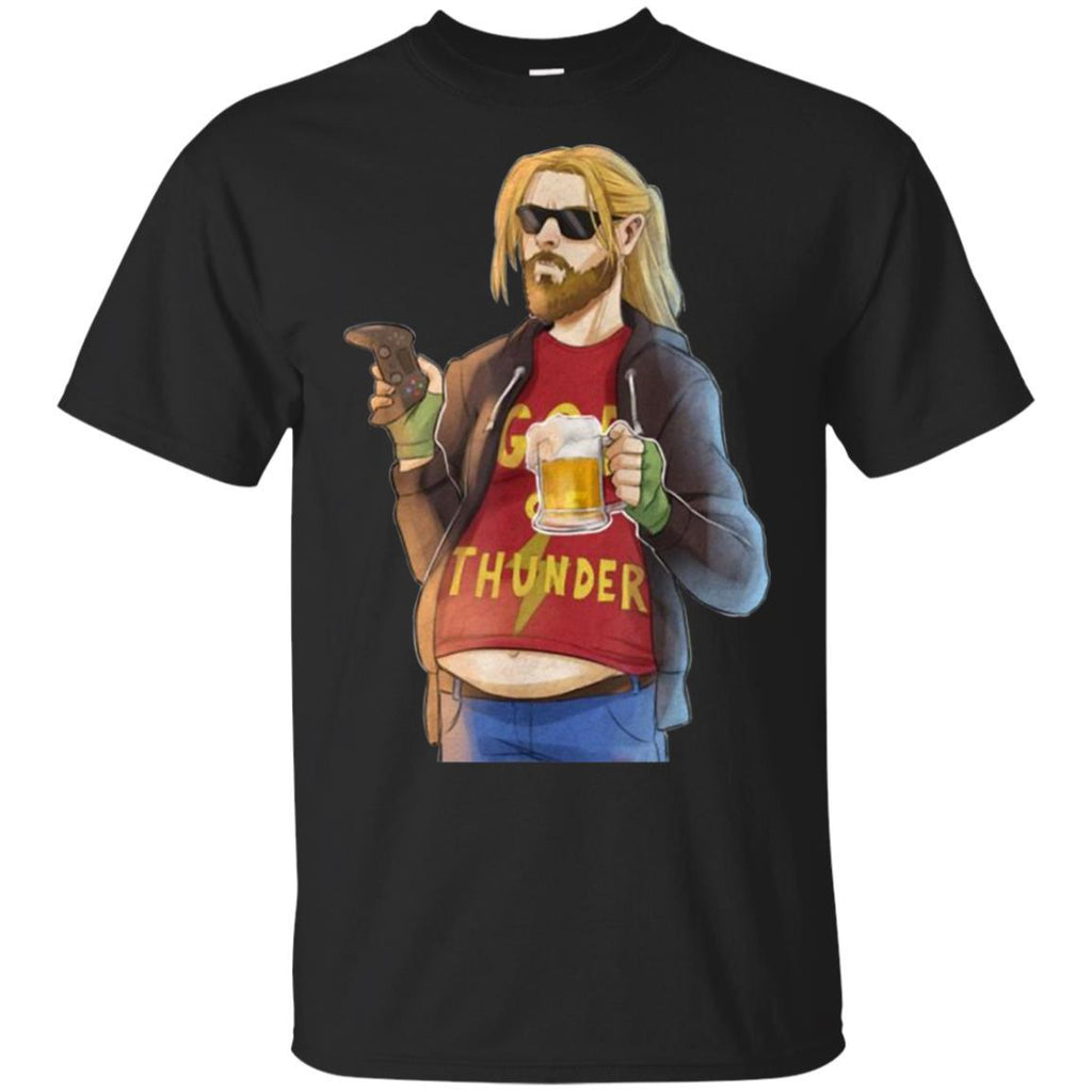 Funny Fa-Thor Fat Man Like Beer and Game T-shirt