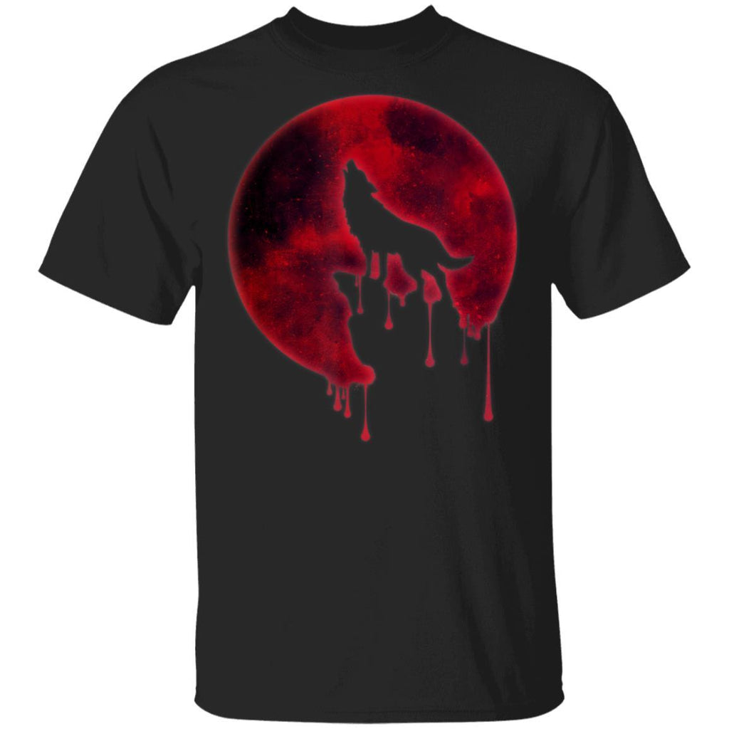 Full Moon Gift Howling Wolf Galaxy Blood Moon Eclipse T-Shirt