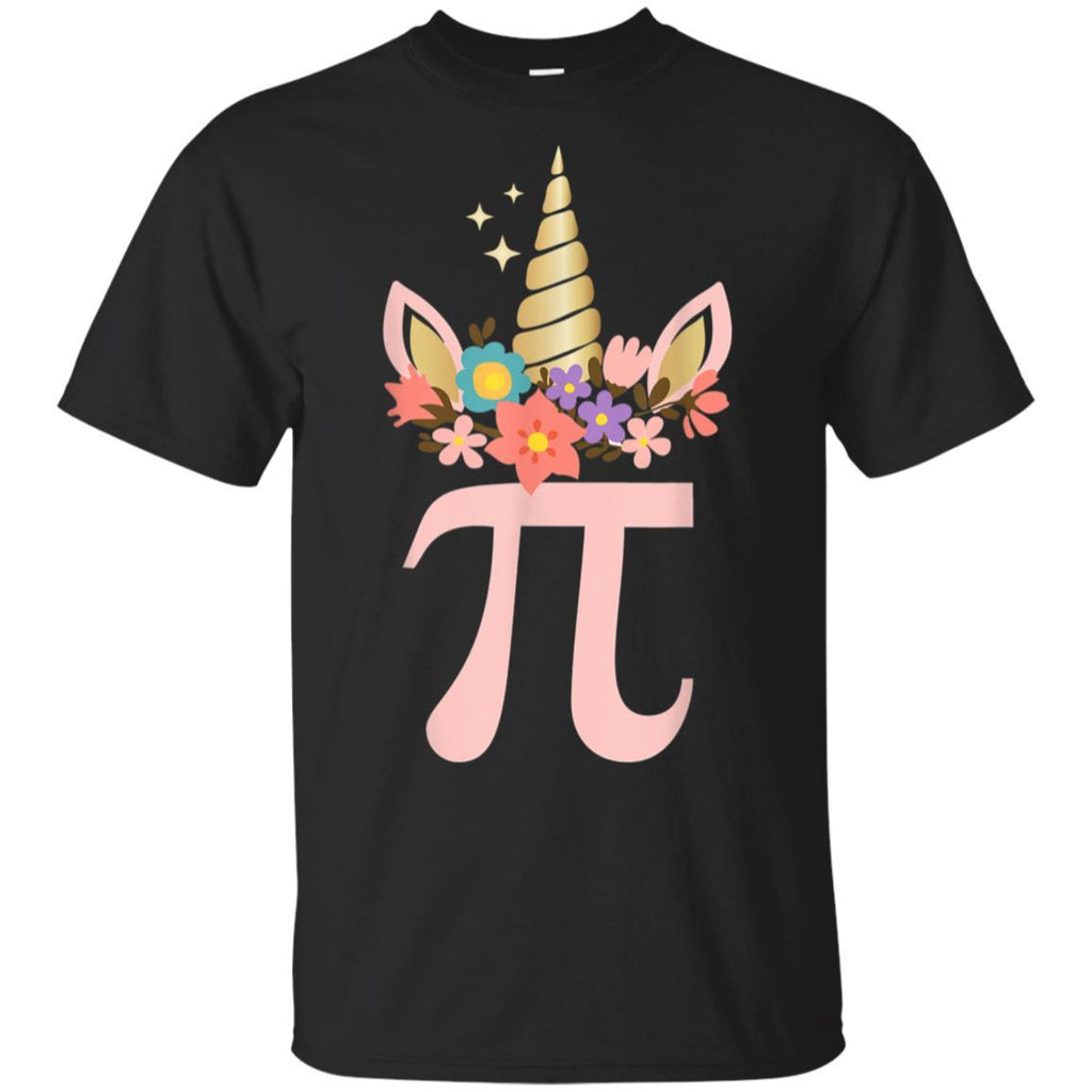 Cute Unicorn Face Pi Day Shirt Girls Women Math Geek Tee