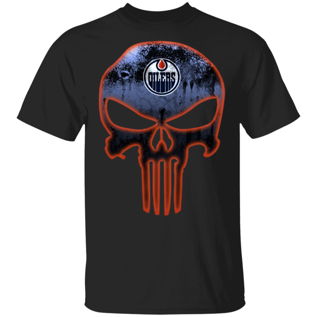 NHL - Edmonton Oilers Hockey The Punisher Skull T-Shirt