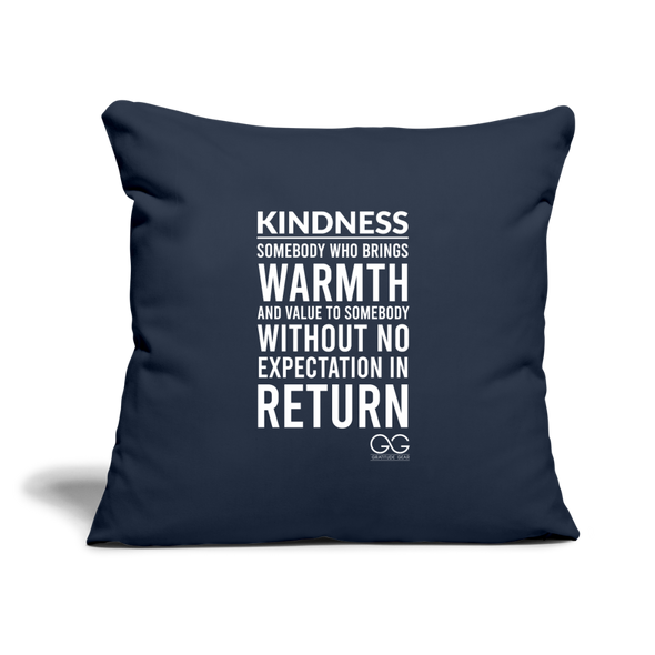 "Throw Pillow Cover 18"" x 18"" Kindness Definition - navy"