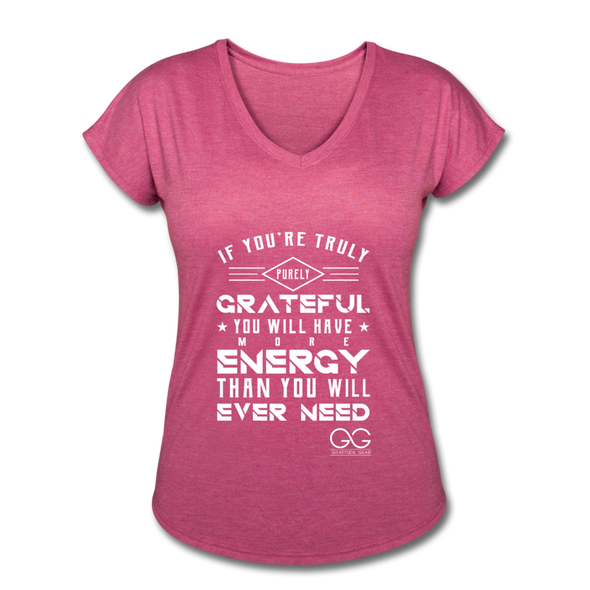 Women's Tri-Blend V-Neck T-Shirt - heather raspberry