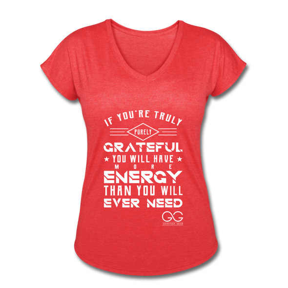 Women's Tri-Blend V-Neck T-Shirt - heather red