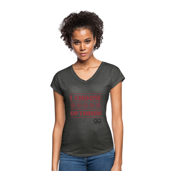 I choose optimism super v neck t-shirt - deep heather