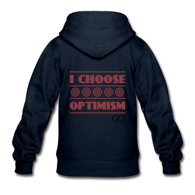 I choose optimism  Zip Hoodie - navy