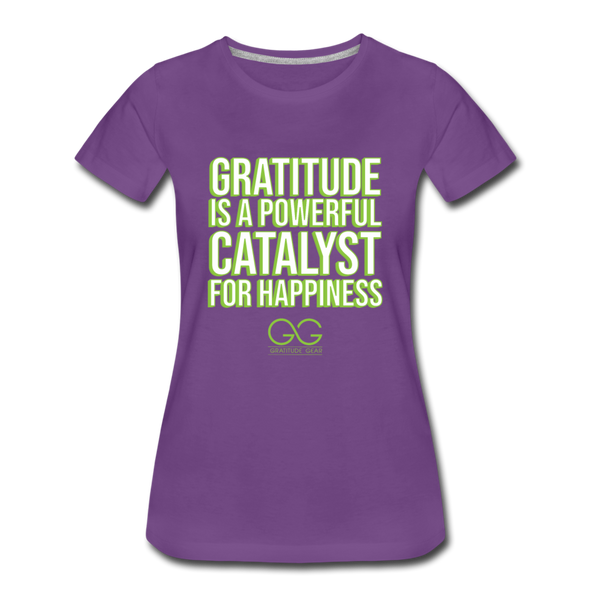 Women's Premium T-Shirt GRATITUDE IS A POWERFUL CATALYST FOR HAPPINESS - purple