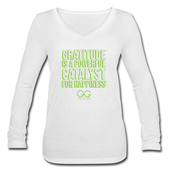 Women's Long Sleeve  V-Neck Flowy Tee GRATITUDE IS A POWERFUL CATALYST FOR HAPPINESS - white