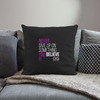 "Never Give Up Throw Pillow Cover 18"" x 18"" - black"