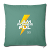 "I Am Powerful Throw Pillow Cover 18"" x 18"" - cypress green"