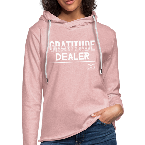 Gratitude Dealer Unisex Lightweight Terry Hoodie - cream heather pink