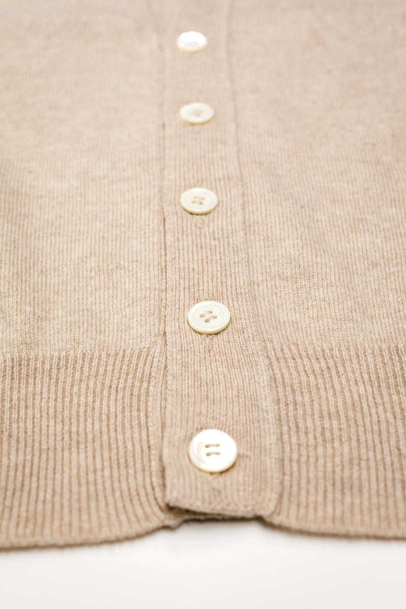 Beige Sleeveless Cardigan - The Fleece Milano - mother of pearl buttons