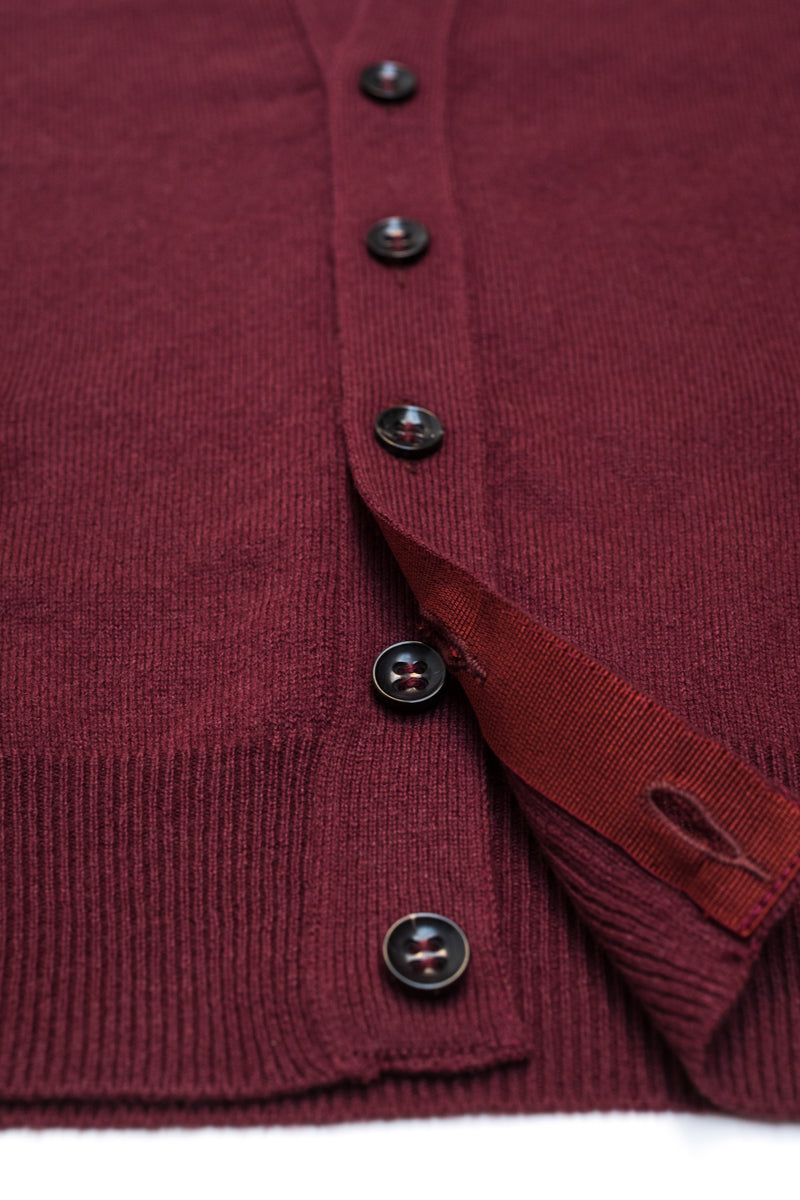 Burgundy-Cashmere-Sleeveless-Cardigan-The-Fleece-Milano-gros-grain