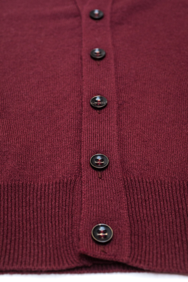 Burgundy-Cashmere-Sleeveless-Cardigan-The-Fleece-Milano-horn-buttons