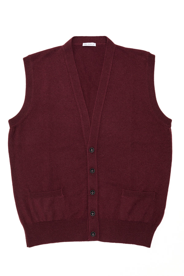 Burgundy-Cashmere-Sleeveless-Cardigan-The-Fleece-Milano