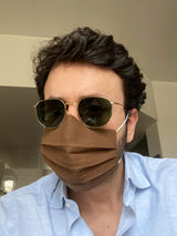 Fabio Attanasio wearing Brown Linen Sartorial Face Mask - The Fleece Milano