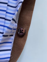 Brown Linen Sartorial Face Mask - Mother-of-pearl button -The Fleece Milano