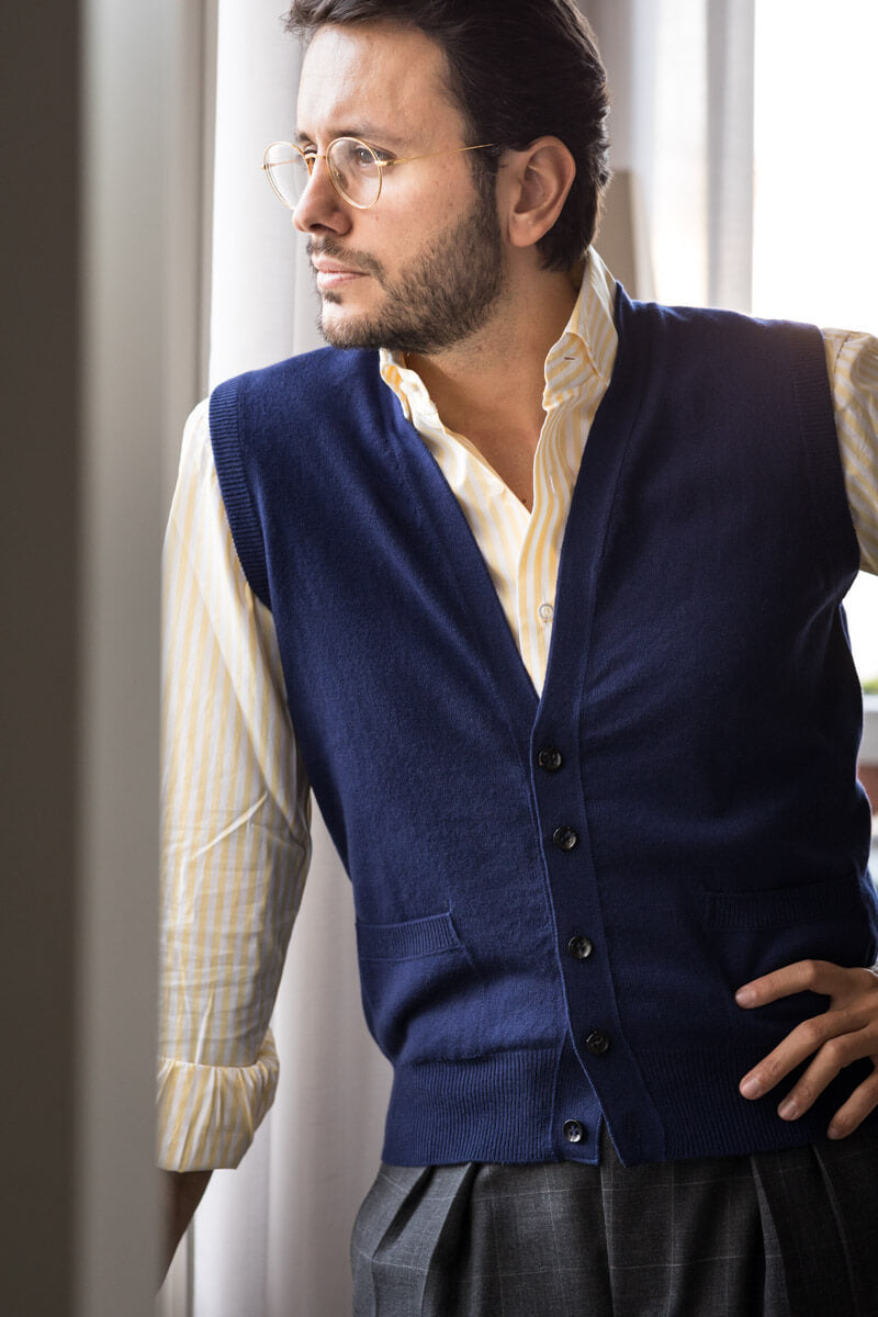 Royal Blue Cashmere Sleeveless Cardigan - The Fleece Milano - Fabio Attanasio
