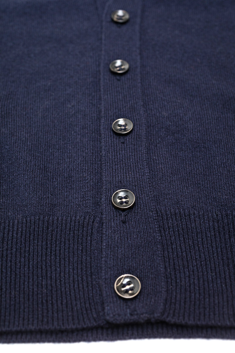 Navy-Blue-Cashmere-Sleeveless-Cardigan-The-Fleece-Milano-horn-buttons