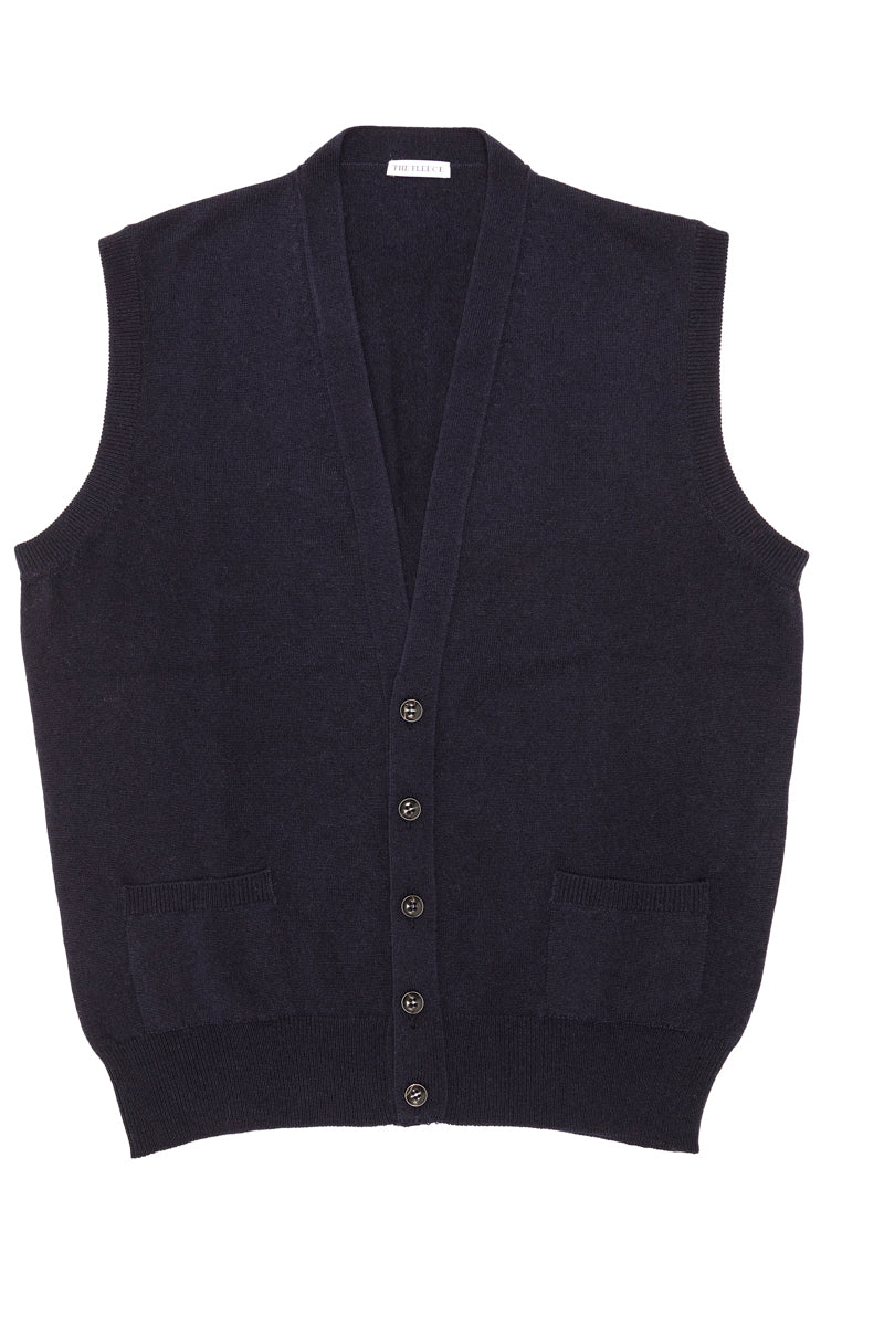 Navy-Blue-Cashmere-Sleeveless-Cardigan-The-Fleece-Milano