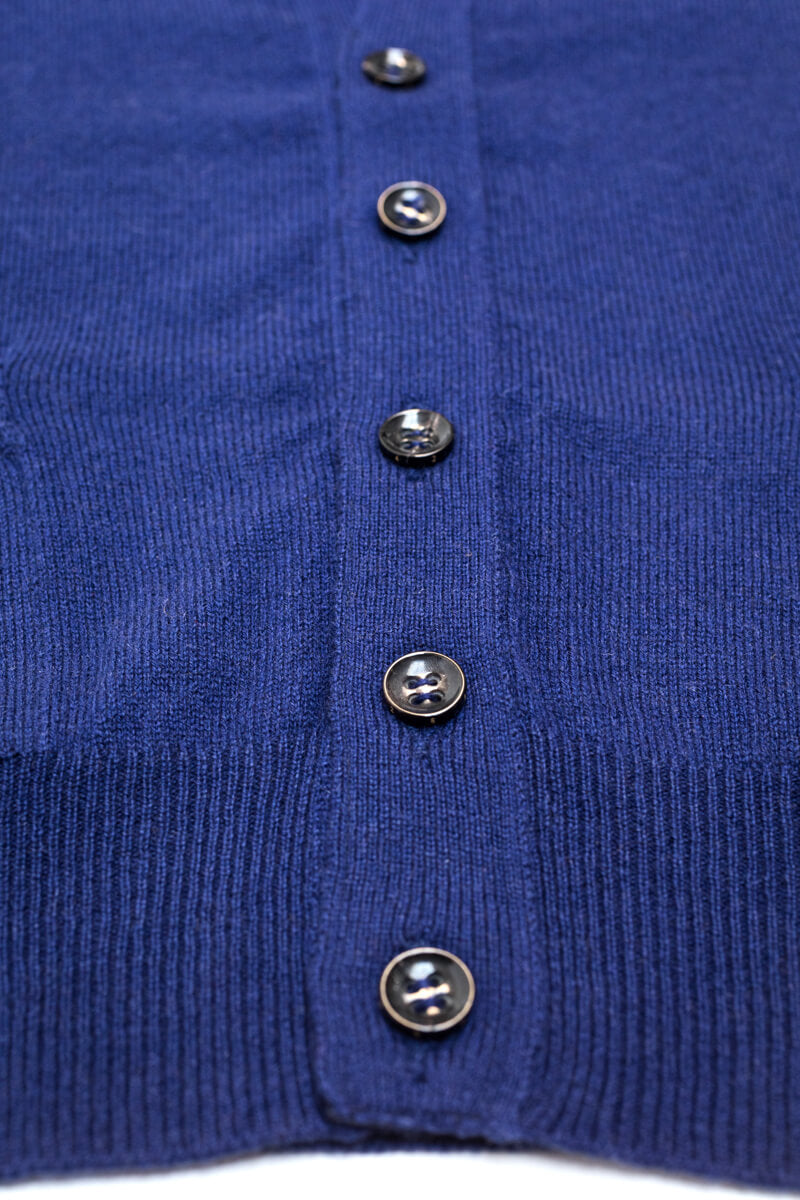 Royal Blue Cashmere Sleeveless Cardigan - The Fleece Milano- horn buttons
