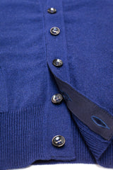 Royal Blue Cashmere Sleeveless Cardigan - The Fleece Milano - gros grain