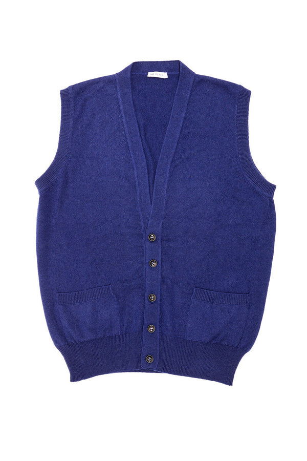 Royal Blue Cashmere Sleeveless Cardigan - The Fleece Milano
