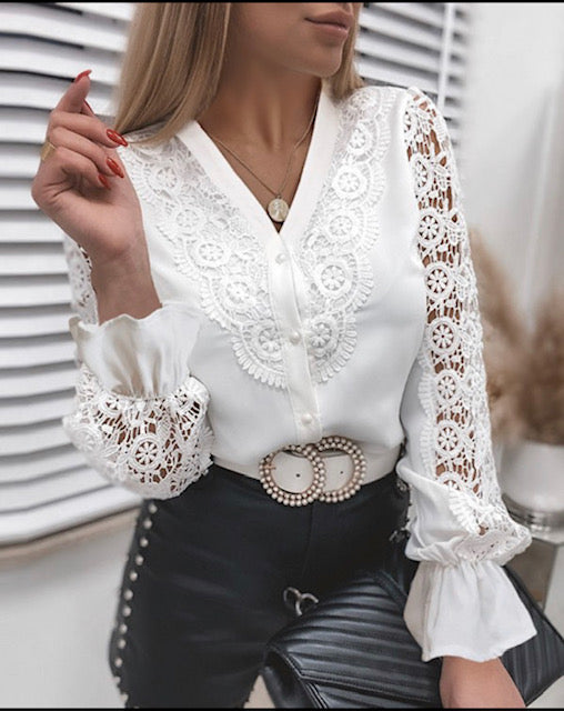 Blouse kant , wit