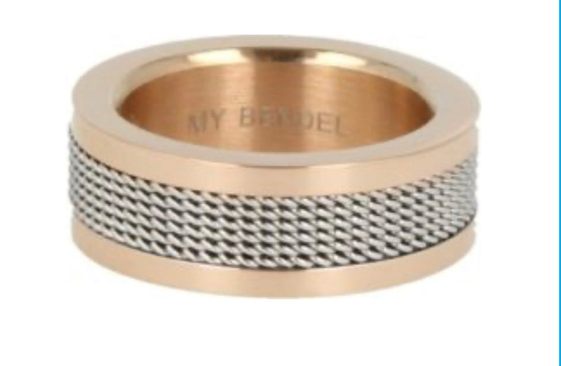 Ring edelstaal My bendel, Rose/zilver