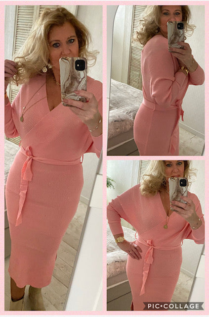 Jurk peach stretch, met split