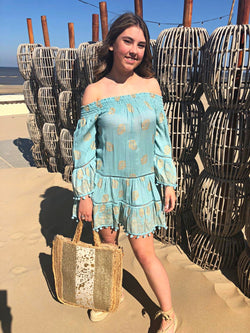 Ibiza jurkje off shoulder, aqua/goud