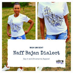 T-shirt with an assortment of Bajan dialect