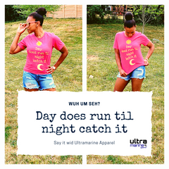 "T-shirts reads ""day does run til night catch it"""