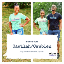 "Load image into Gallery viewer, ""Cawbleh"" Unisex T-Shirt (Blue Stripes)"