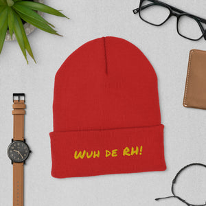 """Wuh de RH"" Cuffed Beanie (Gold Text) - ULTRAmarine"