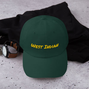 """West Indian"" Dad Hat (Yellow Text) - ULTRAmarine"