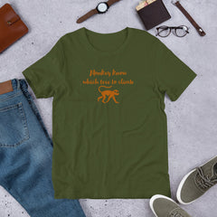 """""""Monkey know which tree to climb"""" unisex Caribbean t-shirt"""
