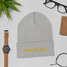 "Load image into Gallery viewer, ""Wuh de RH"" Cuffed Beanie (Gold Text) - ULTRAmarine"