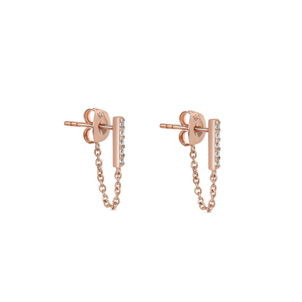 The Ashley Line Chain Earrings Rose Gold