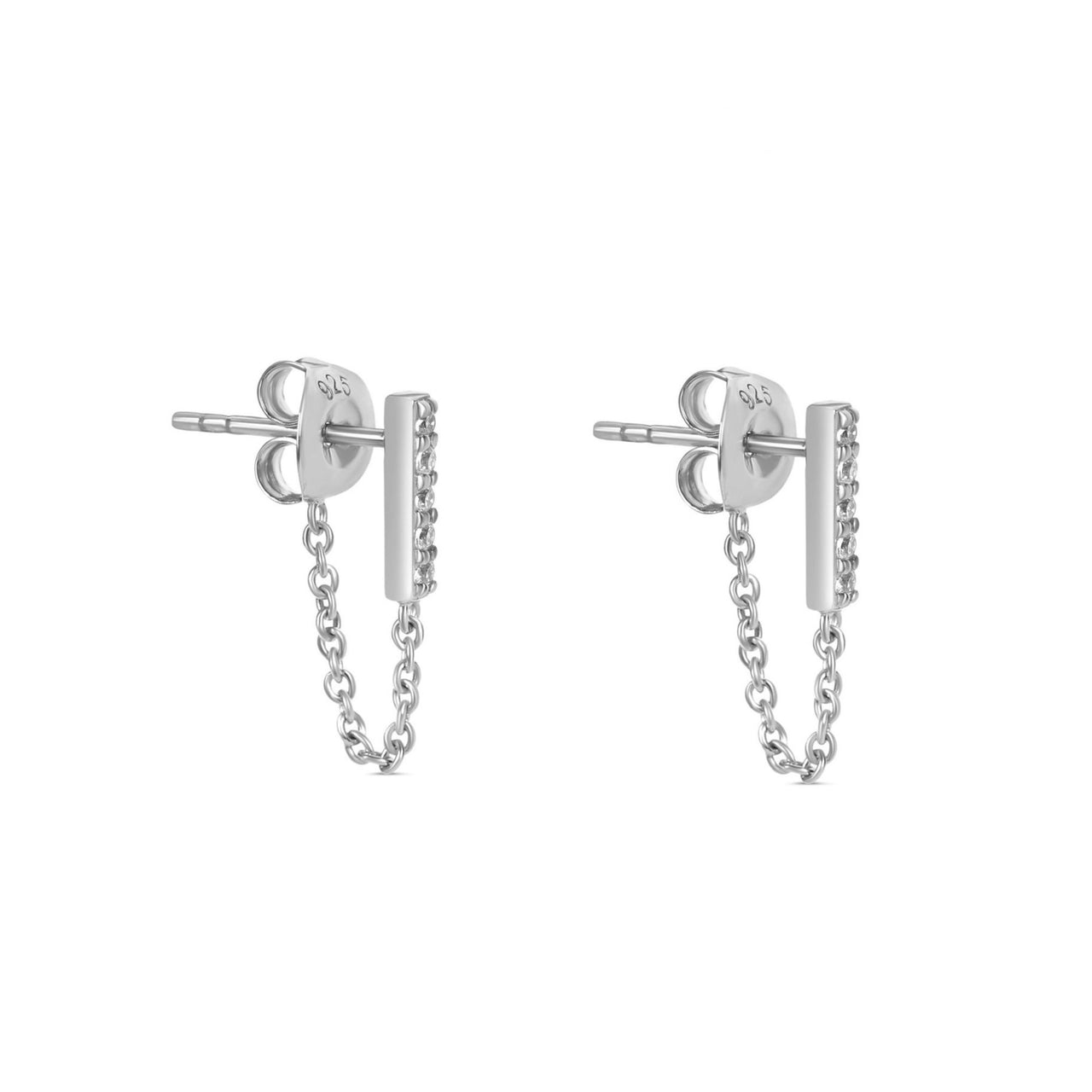 The Ashley Line Chain Earrings Silver