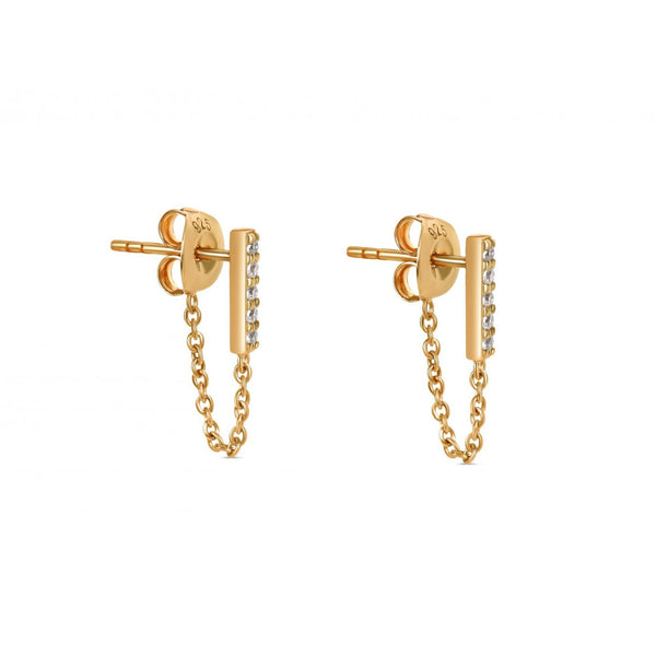 The Ashley Line Chain Earrings Yellow Gold