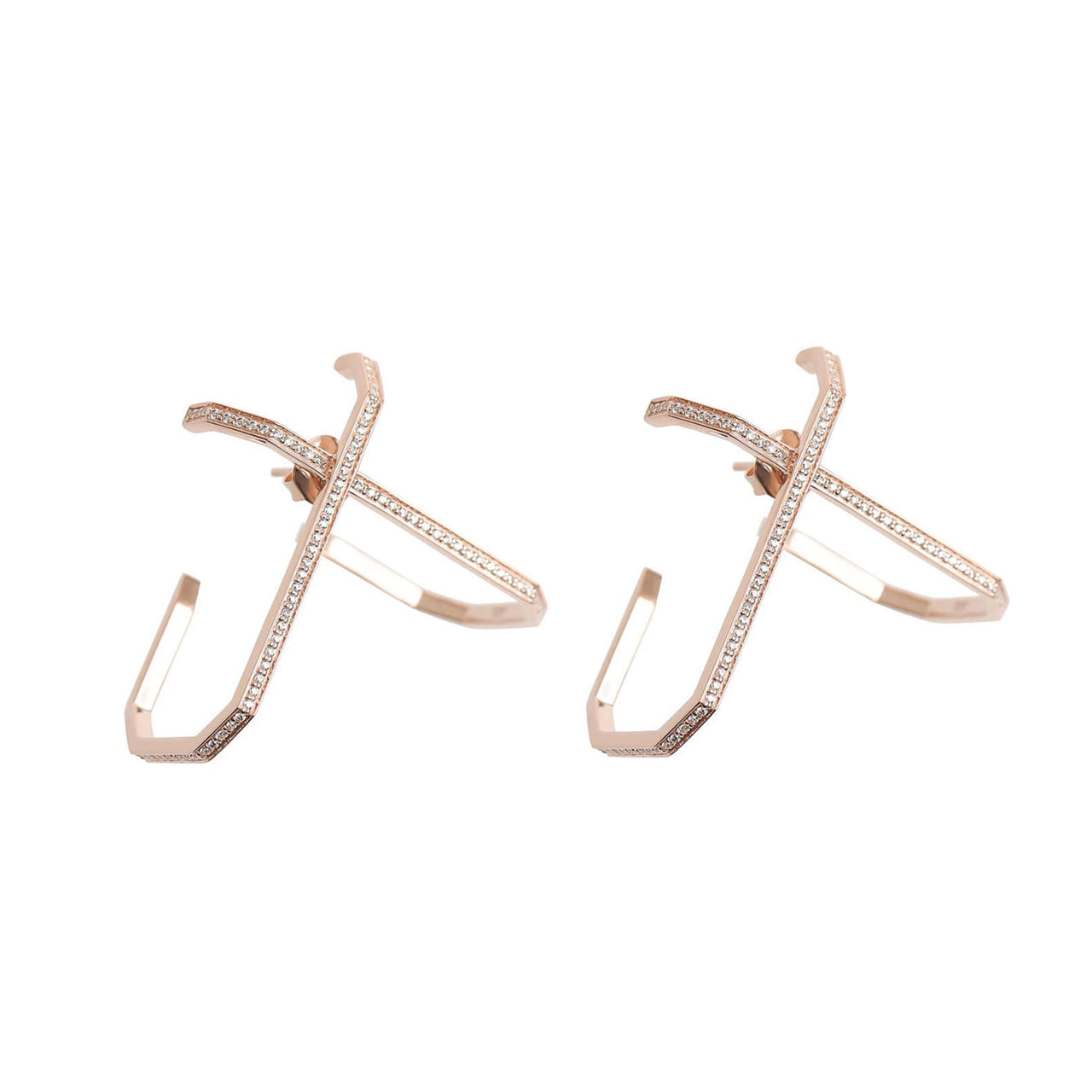 Emerald Double L Earrings Rose Gold