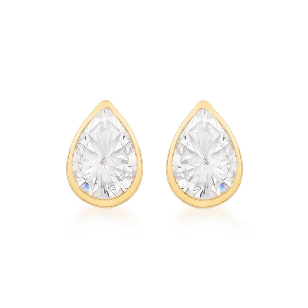 Gold Pear Shaped Studs 9K