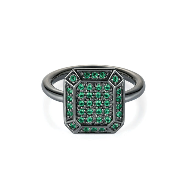 Emerald Ring Black Rhodium with Tsavorites