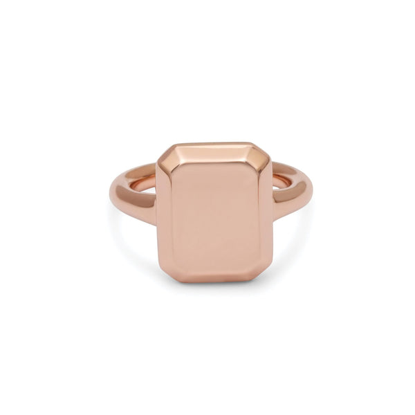 Emerald Signet Ring Rose Gold