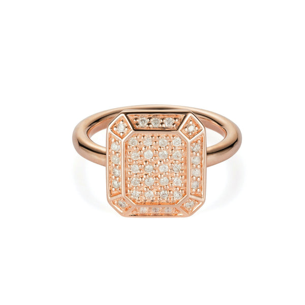 Emerald Ring Rose Gold with Diamonds