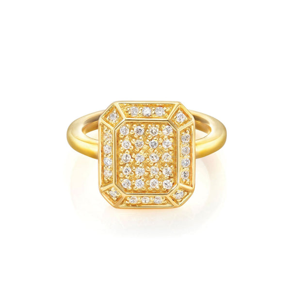 Emerald Ring Yellow Gold with Diamonds - size M (EURO 52 1/2)