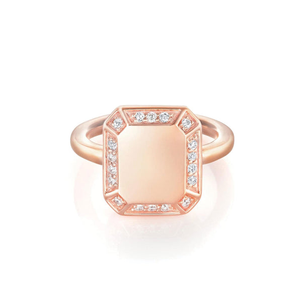 Emerald Ring Rose Gold with Diamond Pave