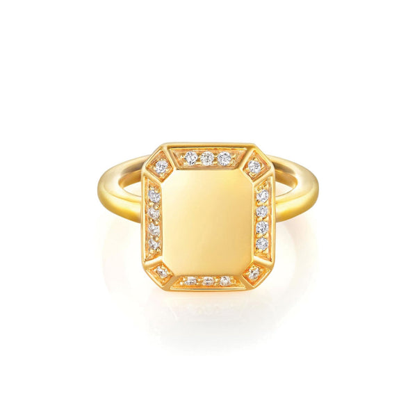 Emerald Ring Yellow Gold with Diamond Pave